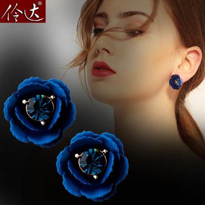 韩版新款耳钉OL时尚蓝色夜魅花朵耳环耳饰仿水晶耳钉简约饰品包邮