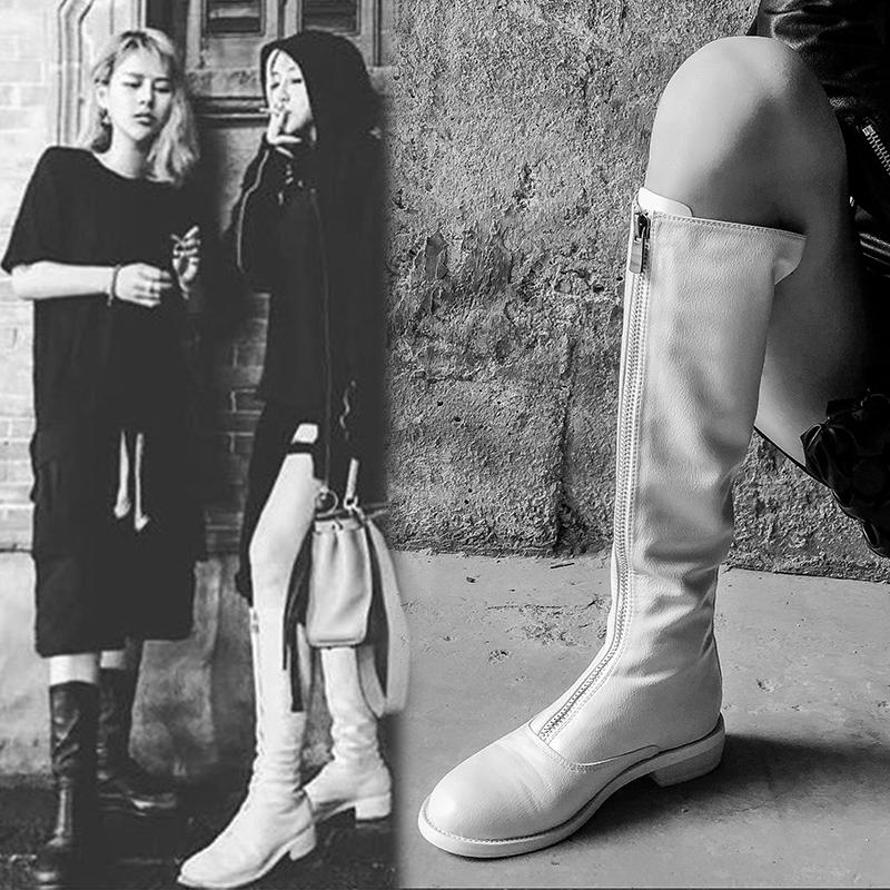 圆头前拉链骑士靴2018冬季新款韩版显瘦不过膝高筒靴平底帅气长靴