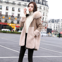 2008 New Winter Dress Loose Size Medium-length Wool Suit Wool Chequered Wool Collar Wool Overcoat