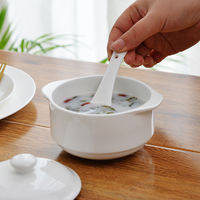 Tangshan pure white bone porcelain small stew pot ceramic water stew pot with lid cooker steamed 盅 bird's nest stew pot bowl