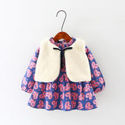 Newborn baby autumn and winter wear plus velvet dress 6 months female baby thick warm Princess skirt 0-1-2-3 years old