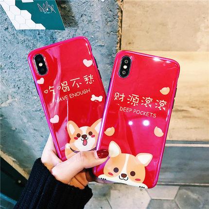 过年款蓝光柴犬X苹果6手机壳iPhone7plus/8/6s大红喜庆女款全包套