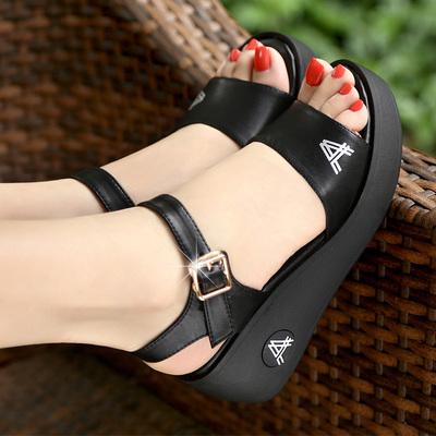 金特 百丽坡跟凉鞋女夏季新款高跟鱼嘴鞋松糕防水台罗马厚底女鞋