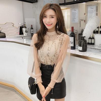 2019春夏新款韩版时尚流苏网纱灯笼袖雪纺衫收腰显瘦甜美上衣女装