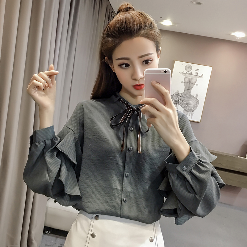 蝴蝶结纯色衬衫