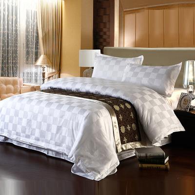 五星级宾馆酒店旅馆床上用品布草 白色四件套全棉象棋格贡缎提花