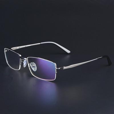 出口订单 纯钛半框眼镜架 超轻大脸 近视眼镜框 男款配镜宽脸商务