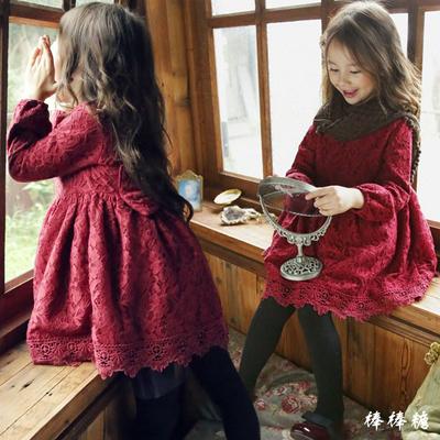 韩国童装2018冬装新款韩版女童蕾丝公主裙加绒加厚连衣裙儿童裙子