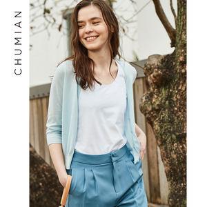 初棉2019春装新款外搭短款开衫毛衣外套女薄款外披针织开衫女
