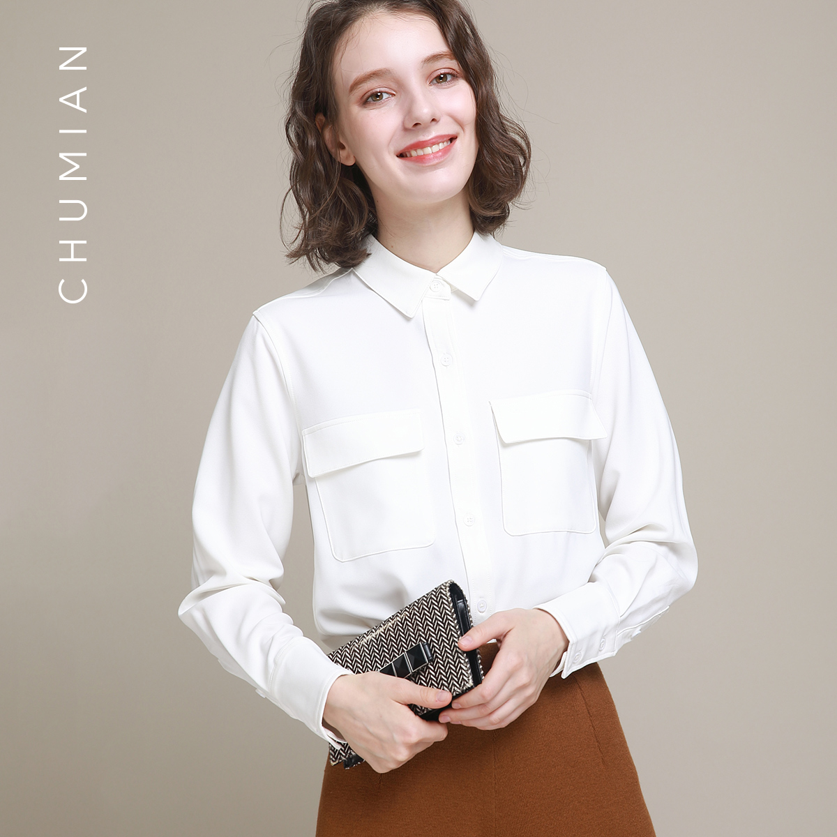 初棉2018春装新款纯色加厚绒感修身白衬衫女长袖女士磨毛白色衬衣