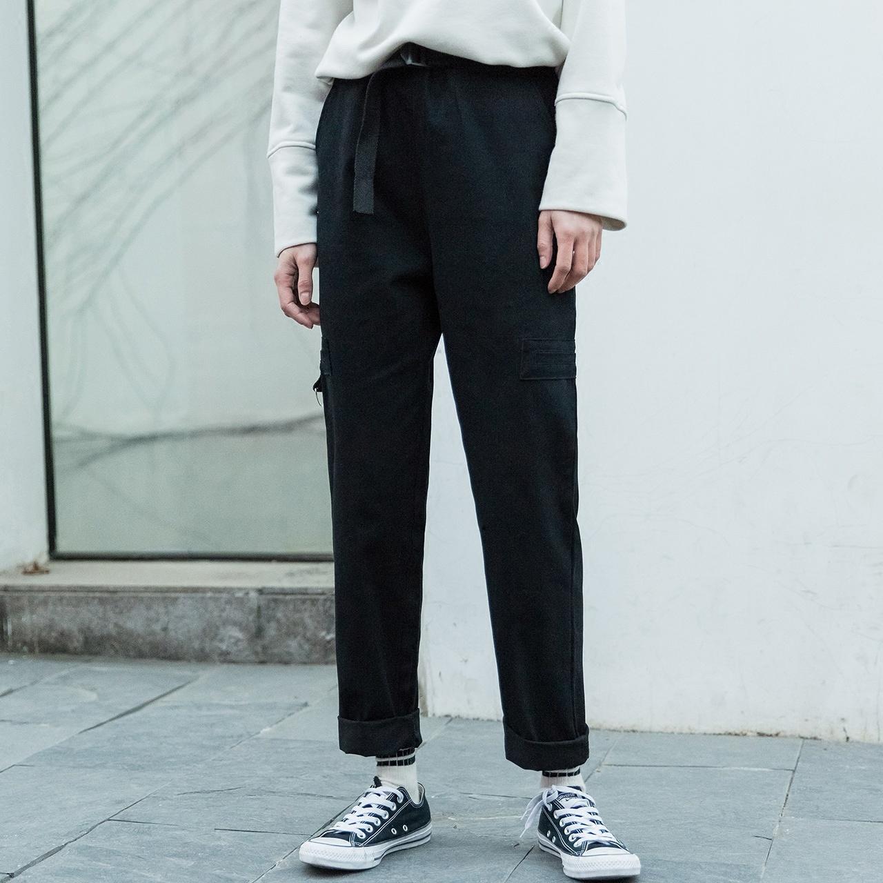 丧系裤子春2018新款宽松怪味休闲法式工装裤女bf直筒学生韩版帅气