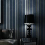 现代简约深蓝色竖条纹墙纸 卧室客厅电视背景墙壁纸 美式复古怀旧