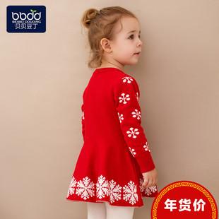 女童毛衣裙子秋冬季毛衫婴儿衣服1一3岁红色儿童连衣裙宝宝圣诞装