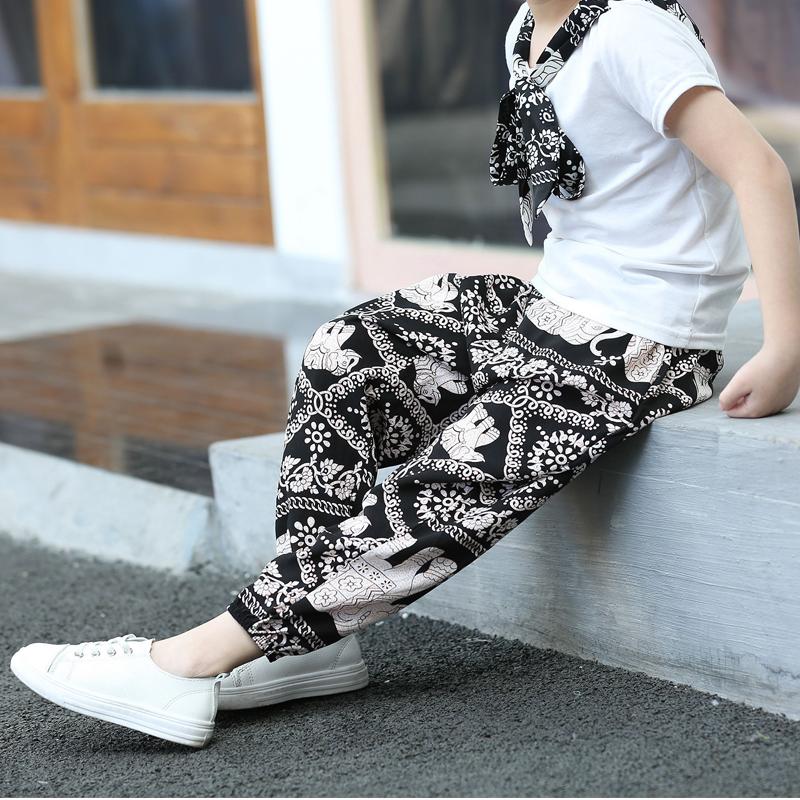 儿童防蚊裤女童棉绸宝宝灯笼裤男童装夏季小童男孩宽松长裤子薄款