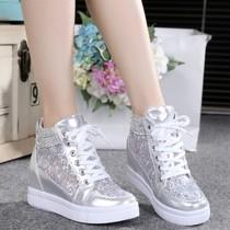 夏季高帮帆布鞋女鞋休闲鞋欧洲站女学生纯白色厚底平跟小白帕拉丁
