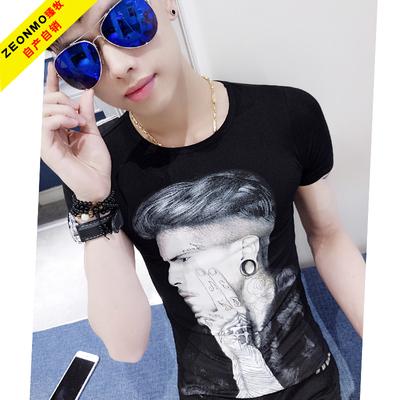 男夏季韩版新款短袖体恤圆领纹身花臂人物特色印花图案发型师潮t