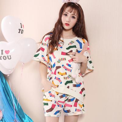短袖睡衣女士夏季纯棉两件套装少女生韩版甜美可爱卡通家居服夏天
