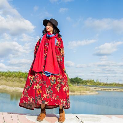 念旧原创/花期 冬复古磨毛印花加绒加厚长款连衣裙宽松旅行风袍子