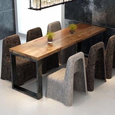铁艺餐桌实木长桌