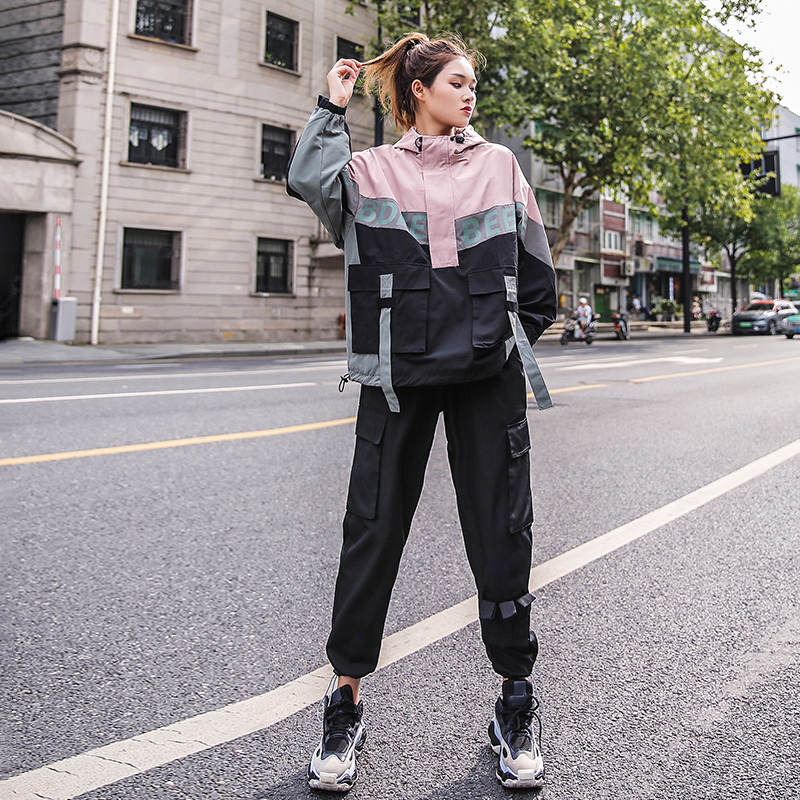 休闲套装2019秋季新款大码女装时尚宽松bf运动工装嘻哈两件套潮牌