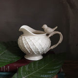 W1962 export European ceramic hand-crafted embossed European bird weaving milk pot / milk can, ceramic pot