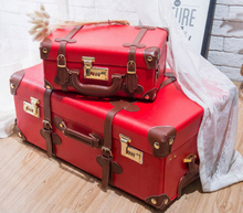 Wedding suitcase retro suitcase women's wedding suitcase 24 pull-rod suitcase bright red dowry suitcase hand-held cosmetic suitcase 12 inches