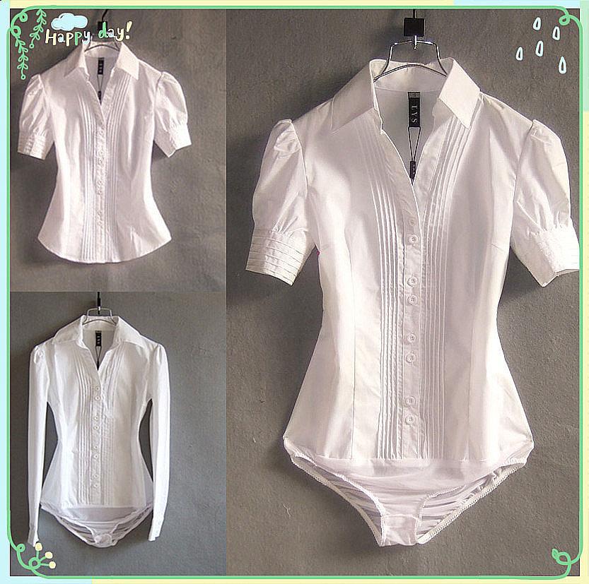 Spring / Summer Korean Women Short Sleeve Shirt Workwear Workwear White Business Shirt Fashionable Long Sleeve