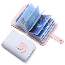 Small card bag purse one bag Womens ultra-thin simple and cute card bag clip anti-demagnetization anti-theft card sets Meng
