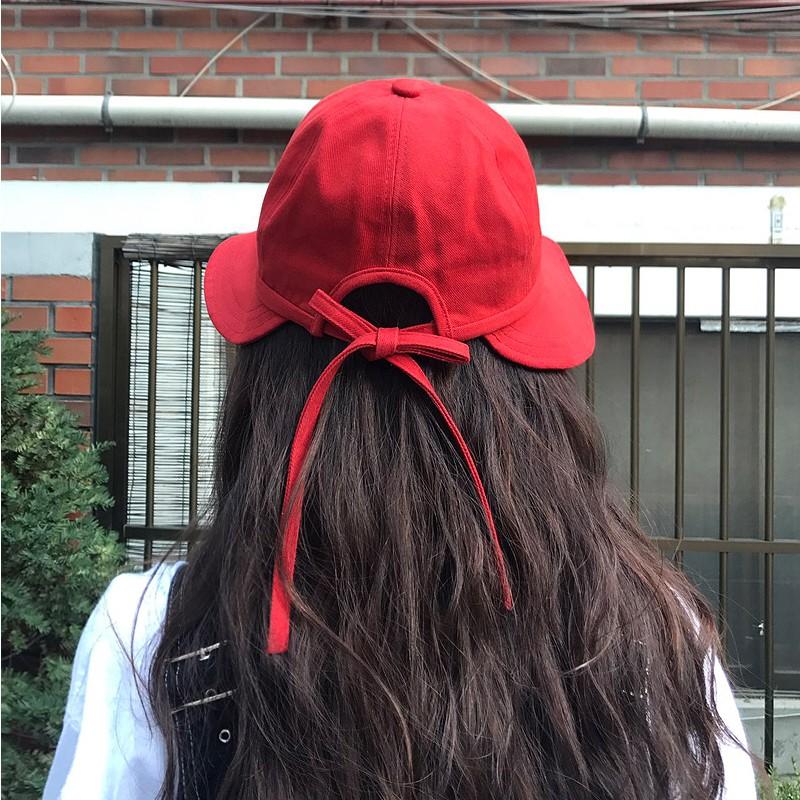 韩国ins棒球遮阳帽棉质小红帽女盆帽春夏新款甜美可爱马尾渔夫帽