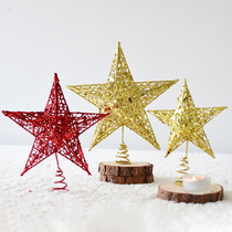 Noci iron flash powder Christmas tree star top decoration spring-type tree top star five-pointed star holiday decorations