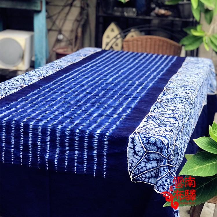 云南大理精品手工扎染床单桌布沙发布—蓝苍山雪图(195×145CM)
