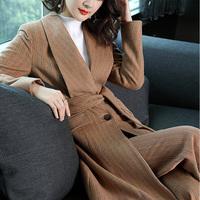 心语泉秋冬新款欧美时尚套装中长款羊毛大衣驼色毛呢阔腿裤两件套