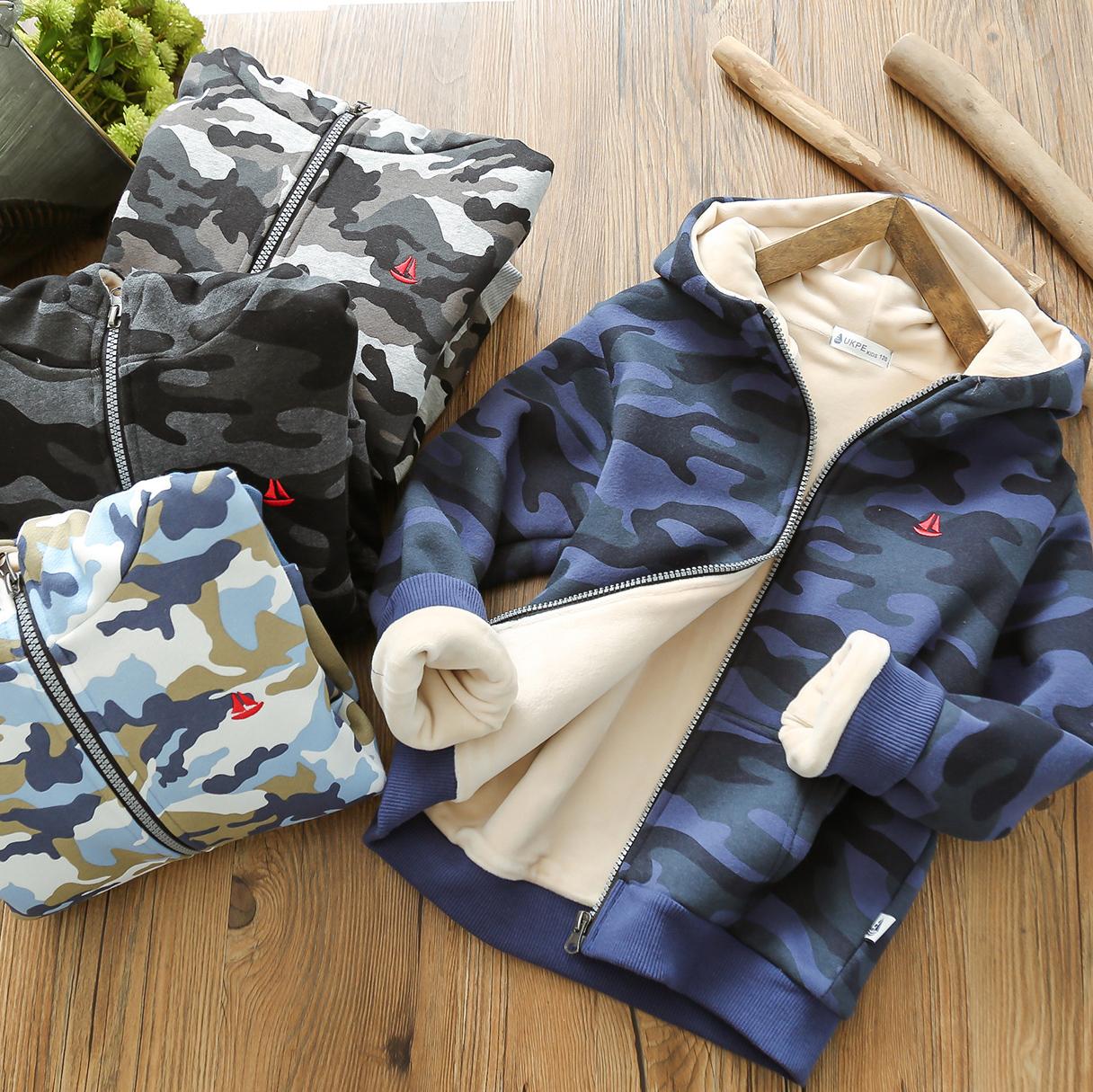 男童加绒加厚外套连帽儿童冬季迷彩服宝宝冬装棉衣棉服保暖衣夹克图片