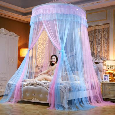 新款床上用品拼色圆顶吊顶公主落地蚊帐超大款彩色挂帐促销包邮