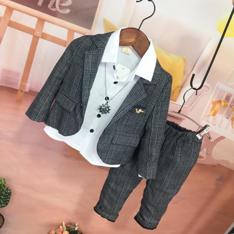 儿童韩版西装套装男童帅气休闲西装外套2019秋款婴幼儿小孩西服潮