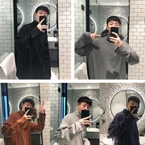 6816秋季新品简约男士针织衫纯色圆领套头修身弹力百搭毛衣潮2018
