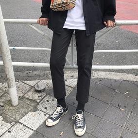 方寸先生春季裤子男韩版潮流黑色男生休闲九分裤修身百搭直筒小脚