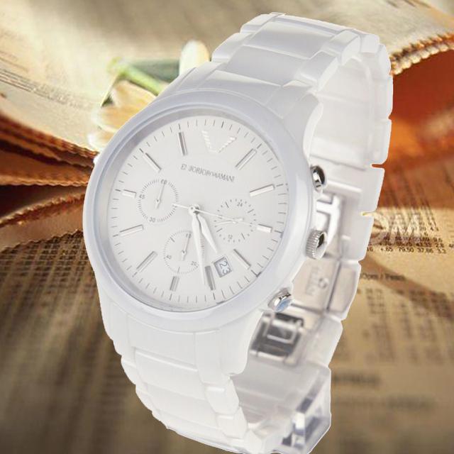 男士手表白瓷表男士圆表盘三眼六针大盘男士陶瓷手表大表盘手表男