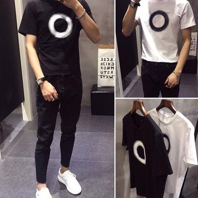 夏季男士短袖T恤韩版修身港风半袖潮牌男生衣服社会精神小伙