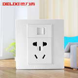 Delixi 86 type wall switch socket telephone panel 5 hole socket phone with five holes power socket
