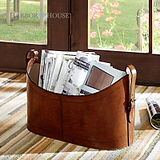 Harbor House American boat leather magazine storage box storage basket portable decorative finishing basket 105932