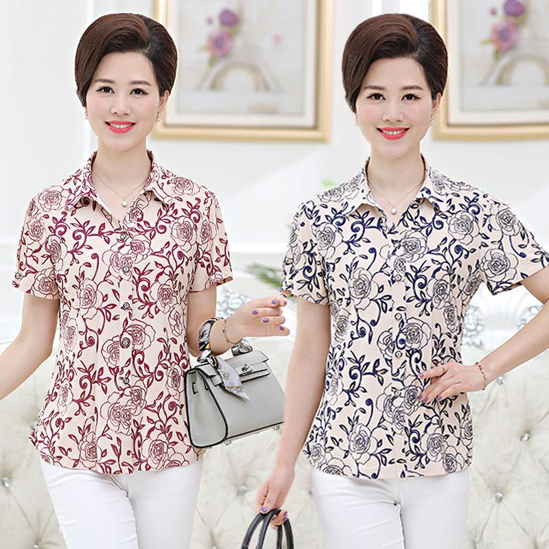 中老年女装夏装短袖t恤老年人婆婆七分袖上衣50-60岁妈妈装衬衫