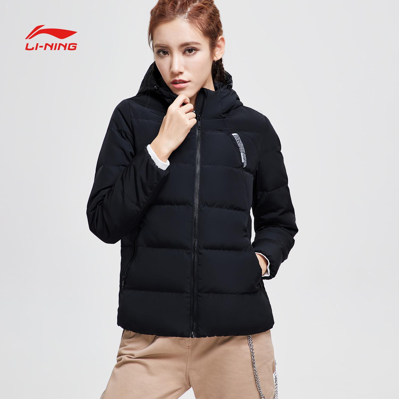 李宁短款羽绒服女新款BAD FIVE篮球系列保暖连帽冬季白鸭绒运动服