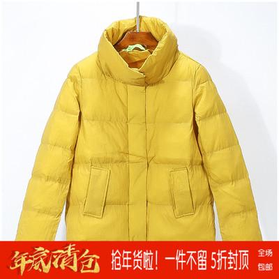 【布系列】品牌折扣女装2018冬装 高领长袖短款宽松棉服外套133