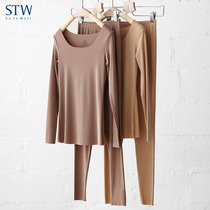 STW qiuyi qiuqun female modal warm suit cotton sweater long sleeve low collar underwear shirt cotton pants autumn