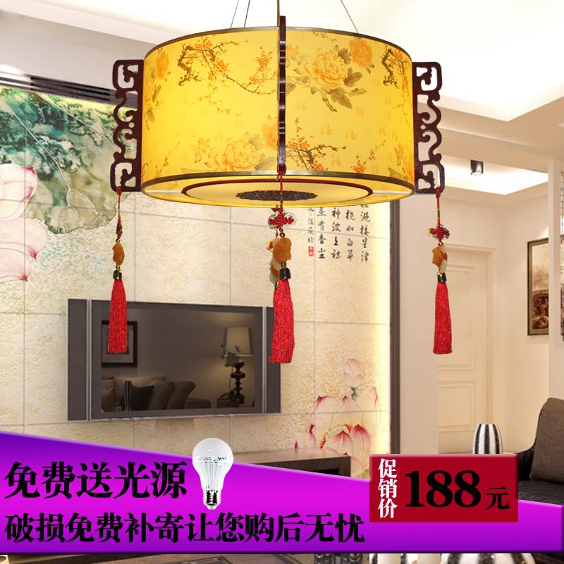 中式吊灯羊皮灯国画
