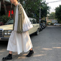 Xin help sinbounboun homemade high waist student Korean version of the casual long section a word white skirt female summer