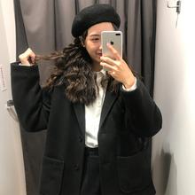 馨帮帮自制秋冬韩版纯色翻领短款毛呢外套女气质呢子开衫上衣