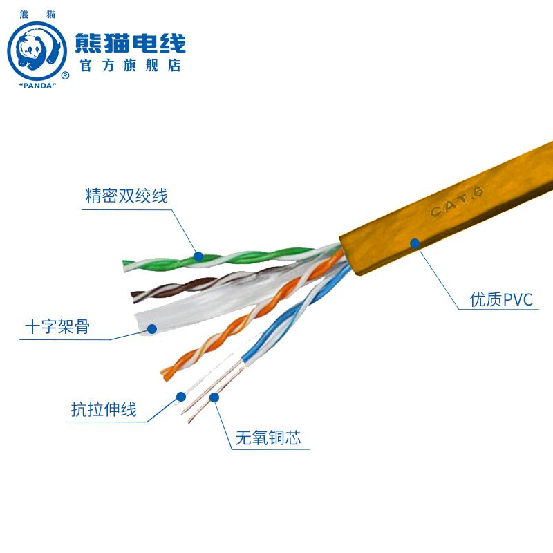 厂家直销 熊猫电线电缆 六类网线 八芯 电脑线  100米