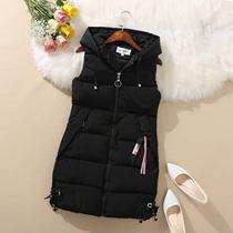 秋冬新款韩版女装羽绒棉马甲中长款大码修身无袖棉衣马夹背心外套